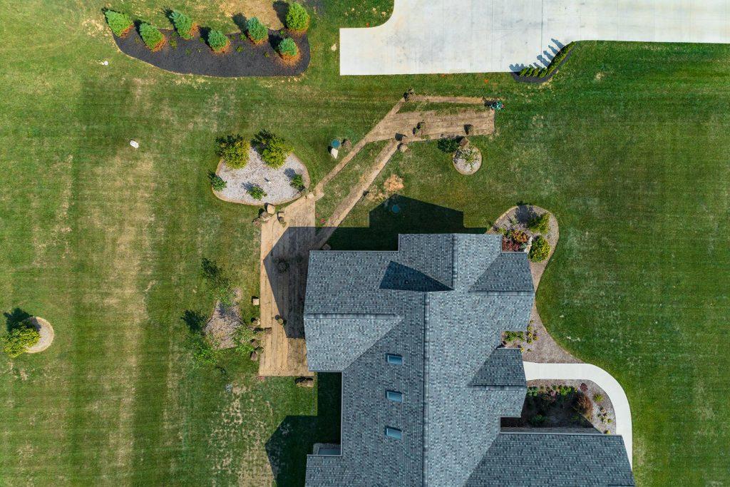 back yard landscaping overhead