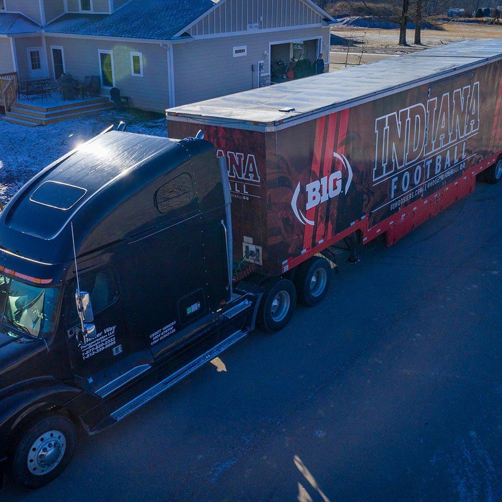 drone photo semi truck